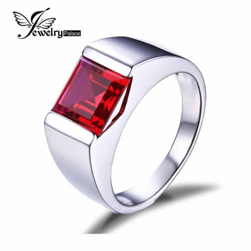 JewelryPalace Men's Square 3.3ct Created Red Ruby Genuine 925 Sterling Sliver Engagement Ring For Men Jewelry Brand New Fashion