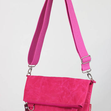 Waxed canvas foldover pink tote bag removable cotton or vegetable leather strap waterproof shoulder crossbody bag small and large usage