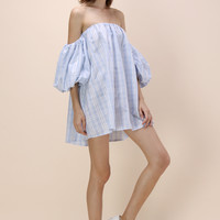 Refreshing Plaid Off-shoulder Dress with Bubble Sleeves