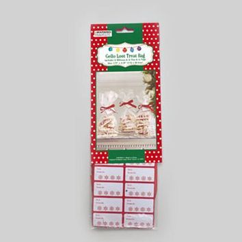 12ct Clear Christmas Cello Loot Treat Bags With Ties, Tags, Ribbon