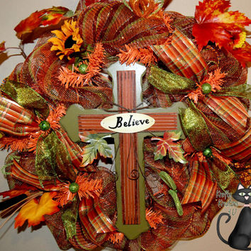 Fall Cross Believe Deco Mesh Wreath by KraftyKreations4You on Etsy