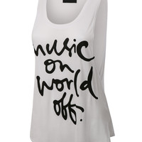 Womens Casual Fun Letter Print Loose Fit Sleeveless Tank Top