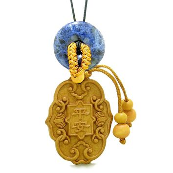 Feng Shui Lucky Symbols Car Charm or Home Decor Sodalite Donut Protection Powers Magic Amulet