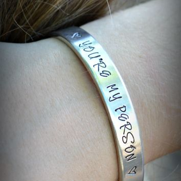 You're My Person Silver Bangle Cuff bracelet