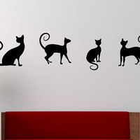 Cats Wall Decal PLAYING CHESS Sticker Art Decor Bedroom Design Mural cute animal lover interior design funny cute love home decor