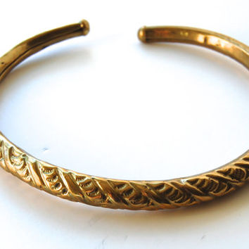 Vintage 1970's  Brass Collar Necklace,