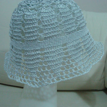 Crochet Wedding Woman Hat in Silver Grey  - WINTER SALE