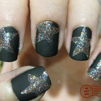 flat black nail polish (with stars)