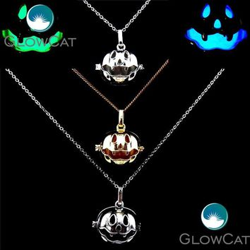 R-20909 Halloween Locket Necklace Pumpkin Box Stone Beads Pearl Cage Copper Pendant Stainless Necklace Cosplay Party Jewelry