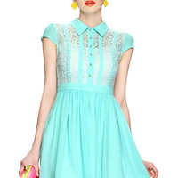 ROMWE | Buttoned Lace Embroidered Green Dress, The Latest Street Fashion