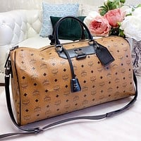 MCM New fashion more letter leather travel luggage shoulder bag crossbody bag handbag Brown