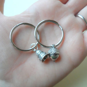 Acorn Keychain or Thimble keyhain, Couples Keychain Gift, Husband and Wife Gift, Girlfriend Boyfriend Gift, Peter Pan's Kiss, Best Friends