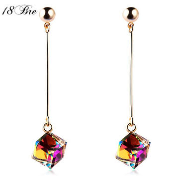 Fashion fine jewelry charm earrings with stones multicolor simple long drop cube crystal red jewelry dangle earrings Brincos