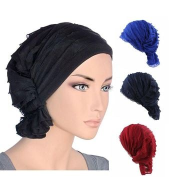 2017 new fashion Women wrinkle Ruffle Chemo Hat Beanie Scarf Turban Headwear for Cancer