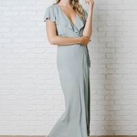 Sage Ruffled Wrap Maxi Dress