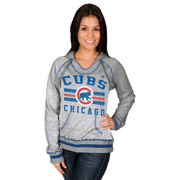 Majestic Chicago Cubs Women's All-Time Slugger Pullover Hoodie - Steel