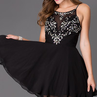 Short Spaghetti Strap Dress with Illusion Bodice
