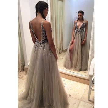 Sexy Beaded Deep V neck Backless Beach Prom Party Dresses 2017 Women Grey Tulle Front-Slit Long Pregnant Gowns SH010