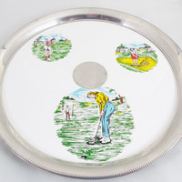 "Golf Serving Tray 11 1/2"", Vintage Barware Serving Metal Tray with Women Golfers, Mid Century Decor, Vintage Serving, Glasses Not Included"