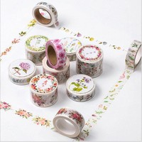 12 Styles Flower Edges Washi Tape Paper Cute Floral Printed Adhesive Tape DIY Decorative Border Scrapbooking Masking Tape