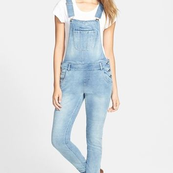 Women's kensie Knit Denim Overalls