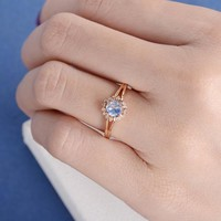 Rose Gold Engagement Ring Moonstone Tapered Split Shank Diamond Flower Antique Retro Women Bridal Wedding December Birthstone Vintage Ring
