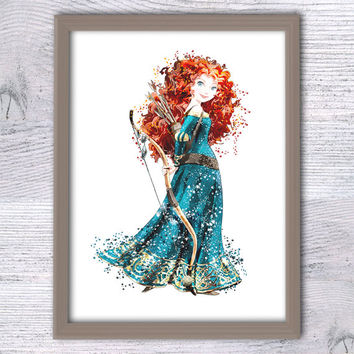 Merida art, Disney Princess Merida, Brave Watercolor, Poster Watercolor Painting,Watercolor Art, Kids Décor, Nursery Décor, Brave print, V48