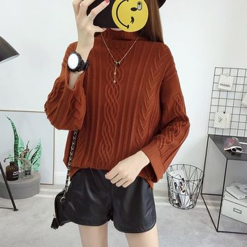New Female Students Autumn Winter Fashion Thick Turtleneck Loose Knit Jacquard Weave Twist Plait Drop Shoulder Sweater Jumper