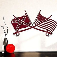 Wall Vinyl Arms Civil War Confederate USA Flag Guaranteed Quality Decal Unique Gift (z3475)