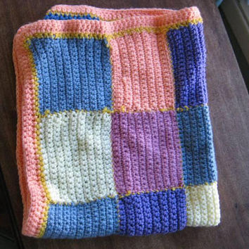 Vintage Baby Blankets/Afghans/Throws in Big Melon/Yellow/Purple/Blue Rainbow Square or Yellow/Mint Green Chevron Pattern; Warm & Pretty