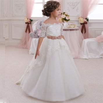 2016 Flower Girl Dresses For  Wedding Kids Evening Ball Gown Lace Princess Dress Lovely Dress First Kid Communion Dresses