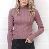 High Neck Ribbed Long Sleeve Crop Top Sweater {Dusty Mauve}