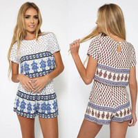 Multicolor Tribal Print Crop Top With Shorts Suits [6222150212]