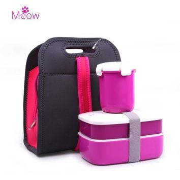 Fashion Double Portable Box Picnic Lunch Microwave Heating Simple Plastic Lid Plate Seal Set With Handbag