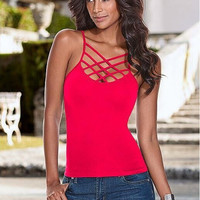 Front Criss Cross Spaghetti Strap Top