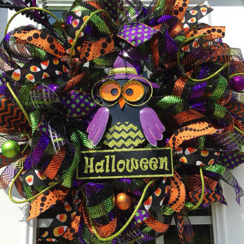 Halloween mesh wreath, Happy Halloween Owl Deco Mesh Wreath, Fall wreath, Owl Halloween wreath, Halloween decor, Halloween  deco mesh wreat