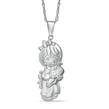 Precious Moments® Diamond Accent Girl with Baby Doll Pendant in Sterling Silver