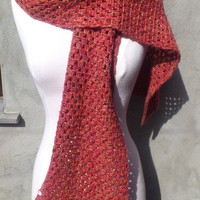 Red scarf with flower