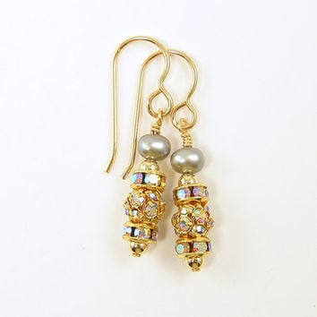 Pearl Earrings - Gray Pearl Rhinestone Silver Gold Delicate Dressy Sparkle Drop Jewelry