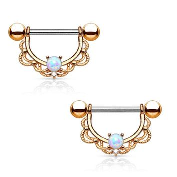Opal Centered Filigree Drop Nipple Rings Barbell Barbells 316L Stainless Steel 14G - Sold as a Pair