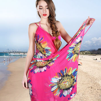 2016 Summer Women Beach Cover Up Lady Thin Sexy Swimsuit Cover Ups Backless Print  Sunscreen Saida De Praia Cover Ups FH_001