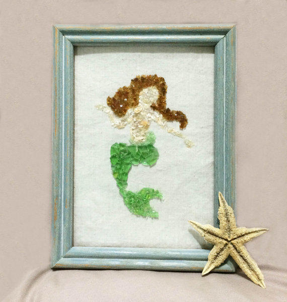 Wall Art Glass Framed : Mermaid art sea glass from seashoresecrets