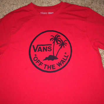 Sale!! Vintage VANS Off The Wall Red T shirt casual streetwear Recycled tee