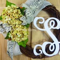 SPRING WREATH - monogram wreath - cream hydrangea wreath.grapevine wreath.summer wreath.housewarming