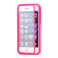 Hot Pink Hybrid TPU Wrap Up Case w/ Built in Screen Protector Stand for iPhone 5/5S