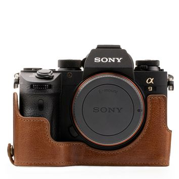 MegaGear MG1244 Sony Alpha A7RIII, A9, A7III Ever Ready Genuine Leather Camera Half Case and Strap - Brown