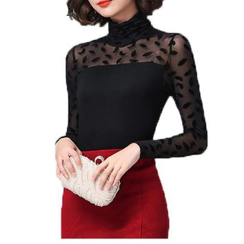 Sexy Mesh Lace Shirts Stretchy Turtleneck Tops