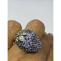 Vintage Handmade blue Tanzanite setting 925 Sterling Silver strawberry Ring