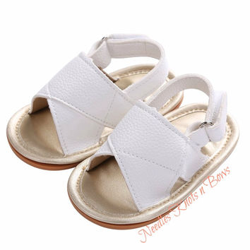 Baby Girls White Leather Sandals, Newborn, Infant, Toddler Sized Shoes, Non Slip Baby Shoes