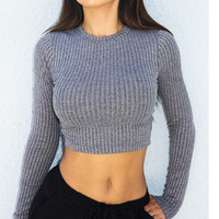 Back Cross Navel Scoop Striped Pullover Sweater
